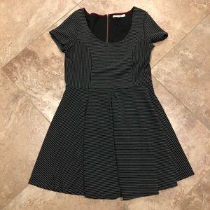 Black/Dark Grey Striped Fit & Flare Dress